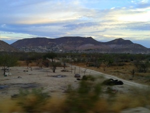The colonias on the outskirts of La Paz near the ranch. A view looking toward the city near the ranch.