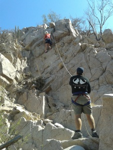 Climbing in the arroyo behind the ranch.