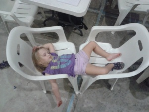 The days were long and out kids pass out in the evenings. Kylah is gaining a talent for falling asleep anywere!