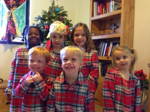 Christmas morning. Thanks Mimi for the matching pjs!
